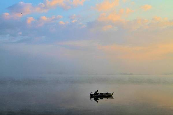 Solitude Poster featuring the photograph Fisherman's Solitude In Ohio by Dan Sproul