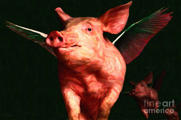Animal Poster featuring the photograph Flying Pigs V3 by Wingsdomain Art and Photography