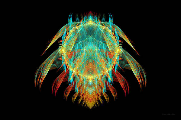 Fractal Poster featuring the digital art Fractal - Insect - I Found It In My Cereal by Mike Savad