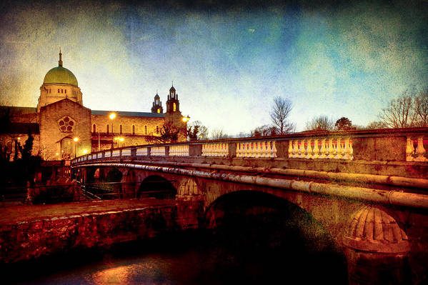 Galway Poster featuring the photograph Galway Cathedral And The Salmon Weir Bridge by Mark Tisdale