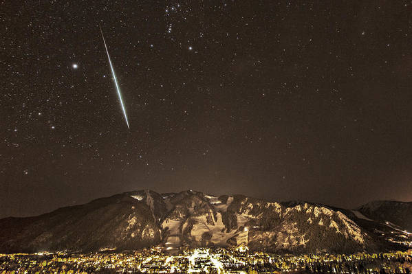 Geminid Meteor Shower Poster featuring the photograph Geminid Meteor Shower Aspen by Tom Cuccio