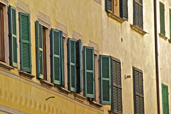 Carved Stone Poster featuring the photograph Green Window Shutters Of Florence by David Letts