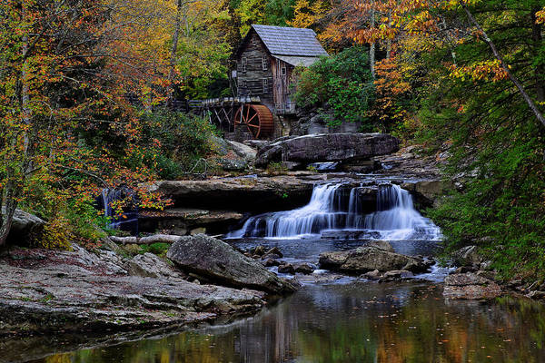 Trees Poster featuring the photograph Grist Mill Falls by Lone Dakota Photography
