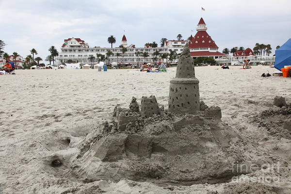 Sandcastle Poster featuring the photograph Hotel Del Coronado In Coronado California 5d24264 by Wingsdomain Art and Photography