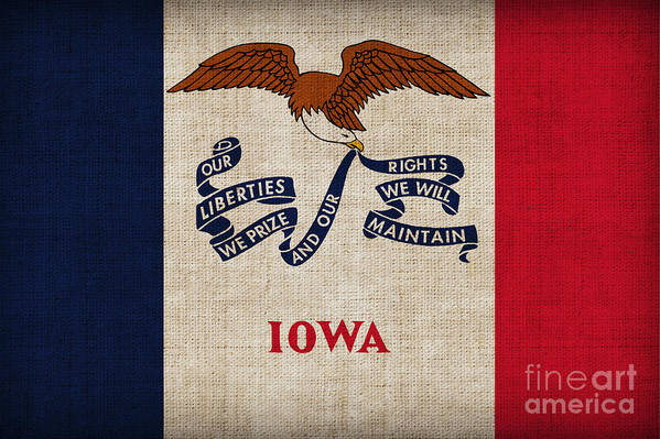 Iowa Poster featuring the painting Iowa State Flag by Pixel Chimp