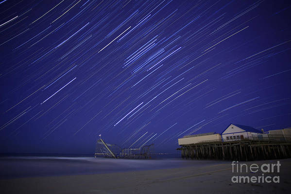 Sandy Poster featuring the photograph Jet Star Trails by Amanda Stevens