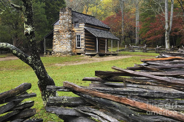 Log Poster featuring the photograph John Oliver Cabin - D000352 by Daniel Dempster
