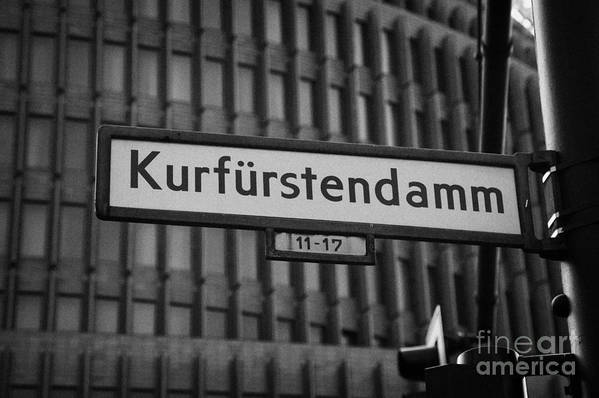 Berlin Poster featuring the photograph Kurfurstendamm Street Sign Berlin Germany by Joe Fox