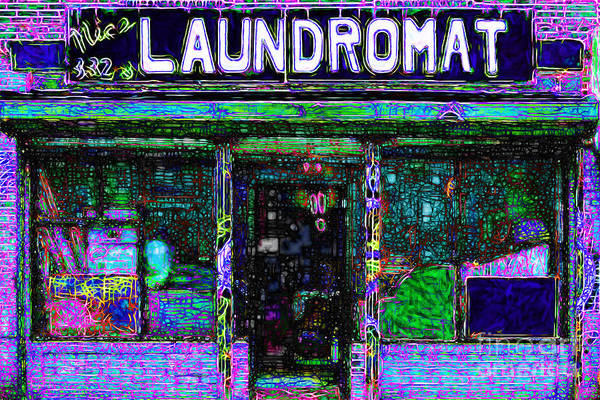 Americana Poster featuring the photograph Laundromat 20130731m108 by Wingsdomain Art and Photography