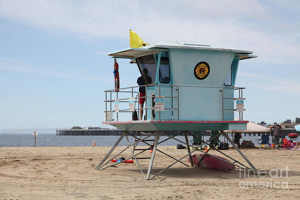 California Poster featuring the photograph Lifeguard Shack At The Santa Cruz Beach Boardwalk California 5d23710 by Wingsdomain Art and Photography
