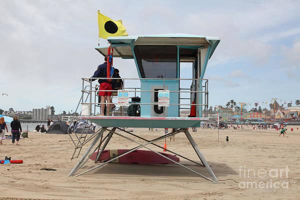 California Poster featuring the photograph Lifeguard Shack At The Santa Cruz Beach Boardwalk California 5d23711 by Wingsdomain Art and Photography