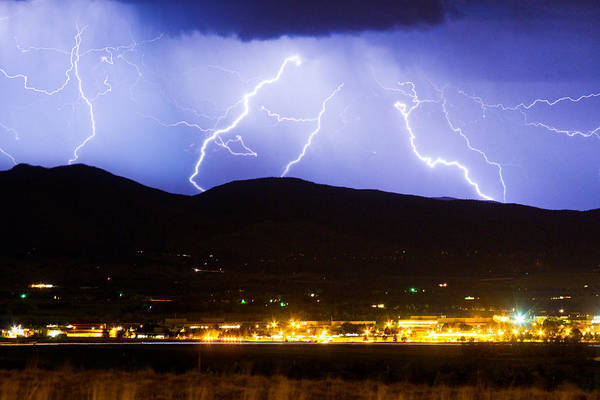 Lightning Poster featuring the photograph Lightning Striking Over Ibm Boulder Co 3 by James BO Insogna