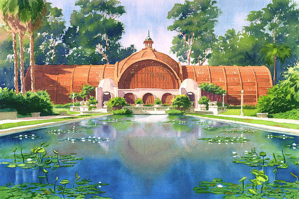 San Diego Poster featuring the painting Lily Pond And Botanical Garden by Mary Helmreich