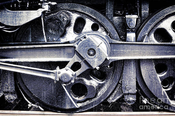 Locomotive Poster featuring the photograph Locomotive Drive Wheels by Olivier Le Queinec