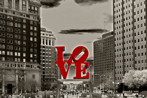City Poster featuring the photograph Love Sculpture - Philadelphia - Bw by Lou Ford