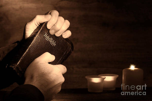 Bible Poster featuring the photograph Man Hands And Bible by Olivier Le Queinec
