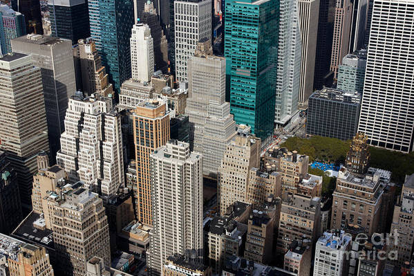 Aerial Poster featuring the photograph Manhattan Bryant Park by Jannis Werner