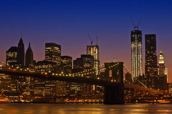 New York Poster featuring the photograph Manhattan By Night by Melanie Viola