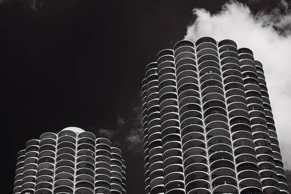 Marina Poster featuring the photograph Marina City Morning B W by Steve Gadomski