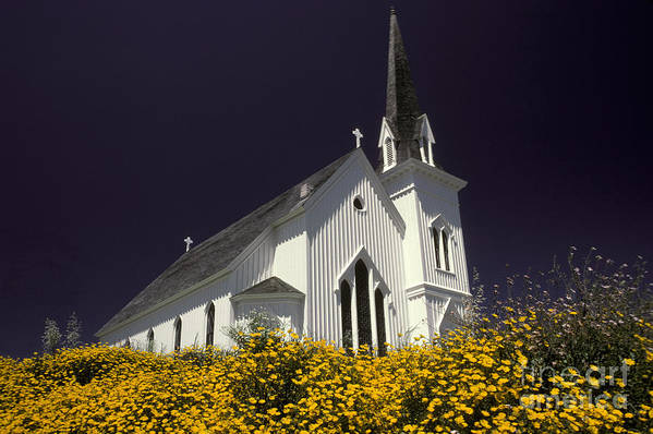 Historical Poster featuring the photograph Mendocino Presbyterian Church by Ron Sanford