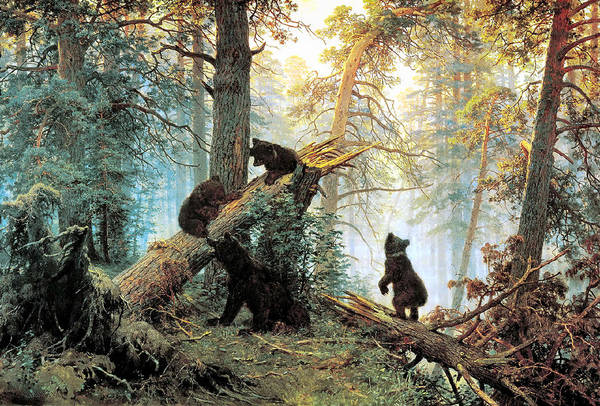 Morning In A Pine Forest Poster featuring the digital art Morning In A Pine Forest by Ivan Shishkin