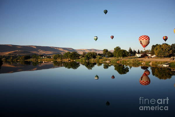 Balloon Poster featuring the photograph Morning On The Yakima River by Carol Groenen