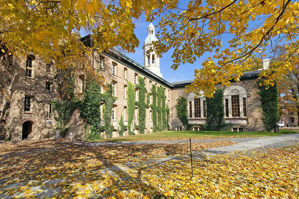 Architecture Poster featuring the photograph Nassau Hall With Fall Foliage by George Oze