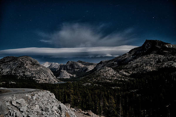 Sky Clouds Stars Night Mountains Road Yosemite national Park California Scenic Landscape Nature eastern Sierra sierra Nevada Clear Poster featuring the photograph Night At Olmstead Point by Cat Connor