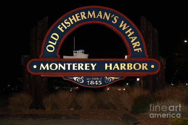 Monterey Poster featuring the photograph Nightfall At The Old Fishermans Wharf At The Monterey Harbor California 5d25175 by Wingsdomain Art and Photography
