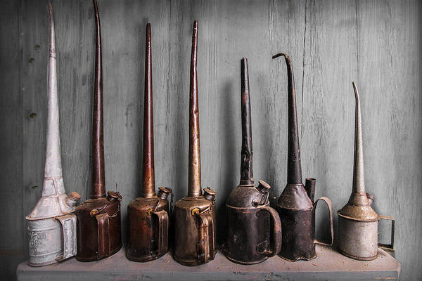 Appalachia Poster featuring the photograph Oil Can Collection by Debra and Dave Vanderlaan