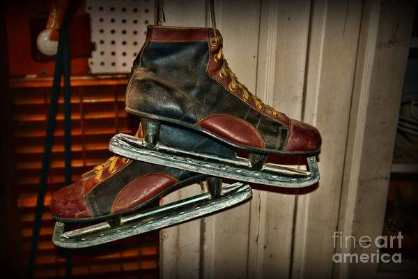Paul Ward Poster featuring the photograph Old Hockey Skates by Paul Ward