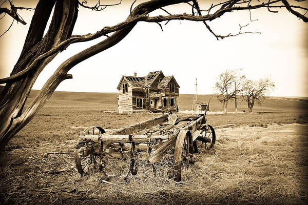 Covered Wagon Poster featuring the photograph Old Wagon And Homestead by Athena Mckinzie