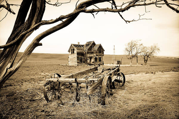 Covered Wagon Poster featuring the photograph Old Wagon And Homestead II by Athena Mckinzie