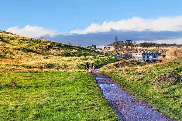 Edinburgh Poster featuring the photograph One Golden Day In Edinburgh's Holyrood Park by Mark E Tisdale