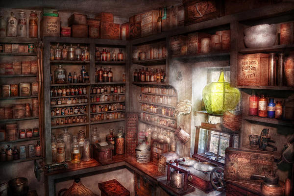 Doctor Poster featuring the photograph Pharmacy - Equipment - Merlin's Study by Mike Savad