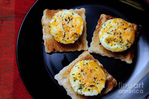 Fine Art Food Poster featuring the photograph Poached Eggs On A Raft by Andee Design