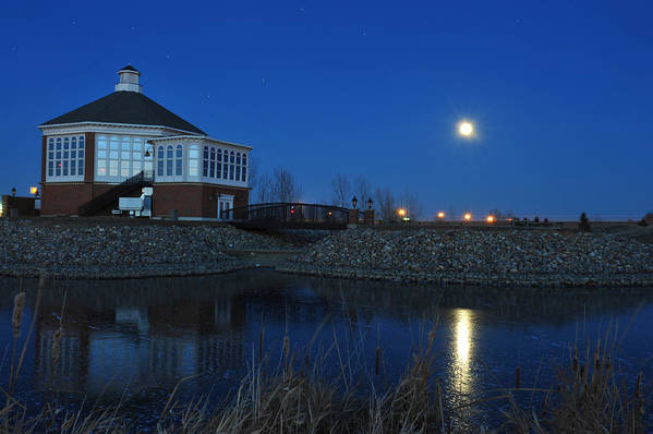 Full Moon Poster featuring the photograph Redlin Art Center In Full Moon by Dung Ma