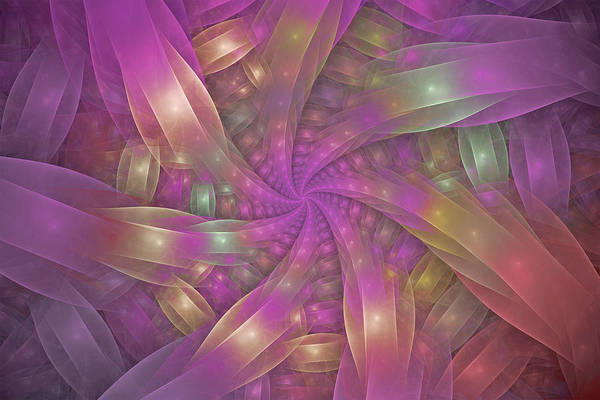 Fractal Poster featuring the digital art Ribbons by Sandy Keeton