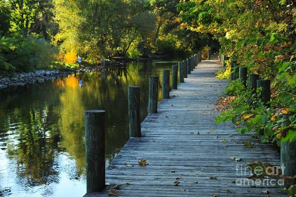 River Poster featuring the photograph River Walk In Traverse City Michigan by Terri Gostola