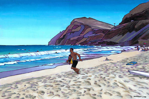 Hawaii Poster featuring the painting Running At Makapuu by Douglas Simonson