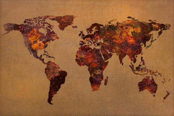 Rusty Poster featuring the mixed media Rusty Vintage World Map On Old Metal Sheet Wall by Design Turnpike