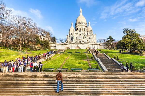 Basilique Du Sacre Coeur Poster featuring the photograph Sacre Coeur - Basilica Overlooking Paris by Mark E Tisdale