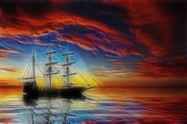 Pirate Ship Poster featuring the photograph Sailboat Fractal by Shane Bechler