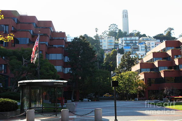 San Francisco Coit Tower Poster featuring the photograph San Francisco Coit Tower At Levis Plaza 5d26186 by Wingsdomain Art and Photography