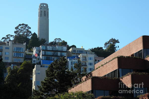 San Francisco Coit Tower Poster featuring the photograph San Francisco Coit Tower At Levis Plaza 5d26193 by Wingsdomain Art and Photography
