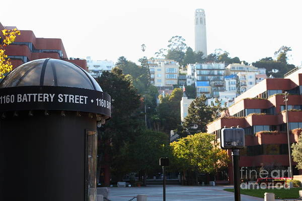 San Francisco Coit Tower Poster featuring the photograph San Francisco Coit Tower At Levis Plaza 5d26212 by Wingsdomain Art and Photography