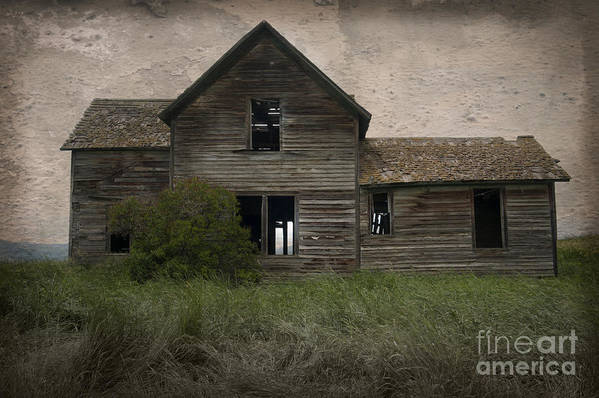 Architecture;house;home;structure;digital;dilapidated;abandoned;derelict;decaying;deserted;isolated;ranchhouse;wood;single;sandra Bronstein;grass;toned;montana;big;sky;fine Art;photography;photographs;prints;canvas;acrylic;notecards;greeting;cards;posters;western;united States;america;out West;mysterious;haunted;digital;manipulated; Poster featuring the photograph Shrouded In Mystery by Sandra Bronstein