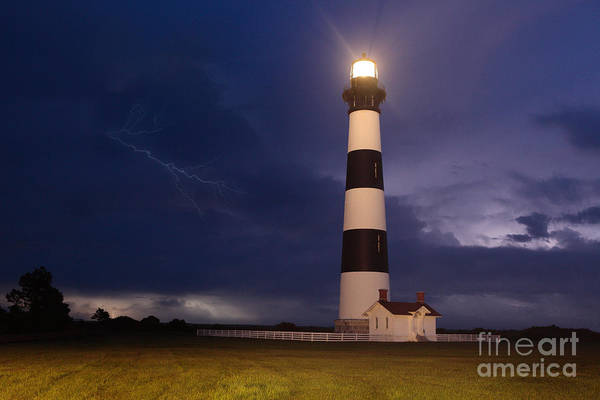 Outer Banks Poster featuring the photograph Stormy Bodie Lighthouse Outer Banks I by Dan Carmichael