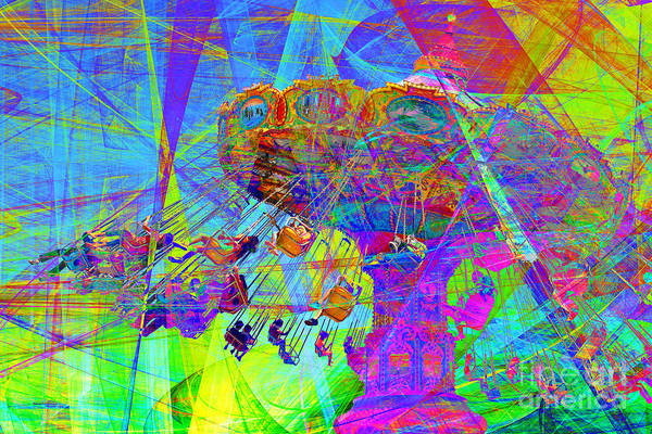 Wingsdomain Poster featuring the photograph Summertime At Santa Cruz Beach Boardwalk 5d23905 by Wingsdomain Art and Photography