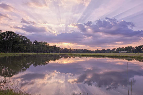 Sunset Poster featuring the photograph Sun Setting Over Pond by Bonnie Barry